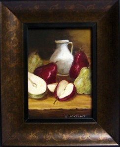 "Still Life Painting titled ""Pears and Cream"""
