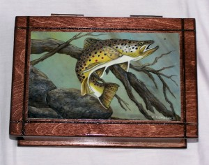 Brown Trout on wooden box