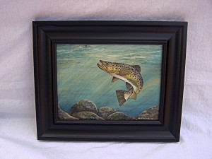 "Brown Trout Painting titled ""Dinner"""