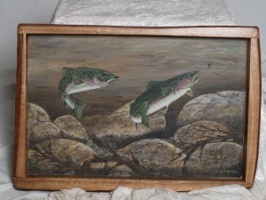 2 Rainbow Trout on a tray