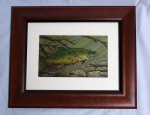 Framed Brook Trout painting titled Occtober Glory