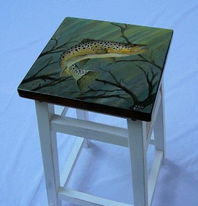 Brown Trout Painting on tall white stool