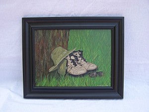 "Still Life painting titled ""Old Boots"""