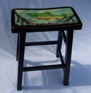 Brook Trout Painting on tall stool