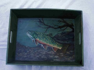 Brook Trout Painting on green tray
