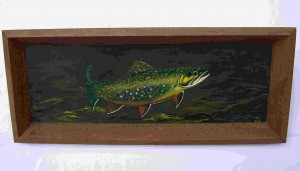 Brook Trout Painting on brown tray