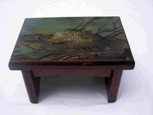 Brown Trout Painting on short stool