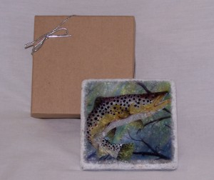 Tumbled marble coasters with Brown Trout