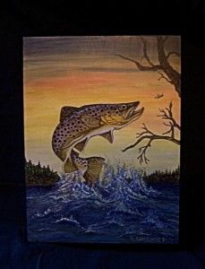 "Brown Trout Painting titled ""Jumping for Joy"""