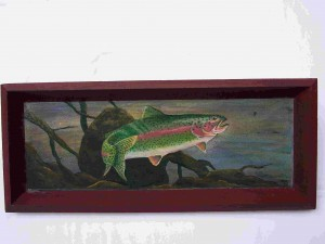 Rainbow Trout Painting on wine tray