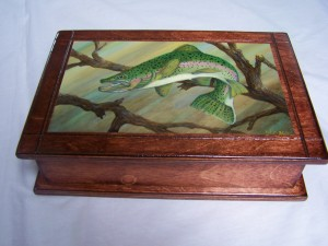 Rainbow Trout Painting on small box