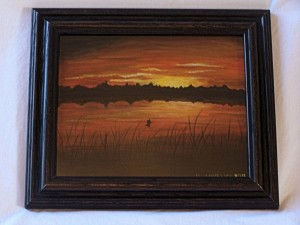 "Landscape painting titled ""Sunset Angler"""