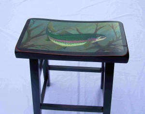 Rainbow trout painting on tall black stool