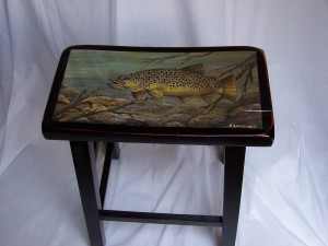 Brown Trout Painting on tall black stool