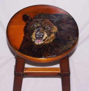 Black Bear Painted Stool