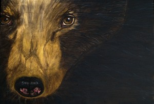 "Black Bear painting titled ""Intensity"""