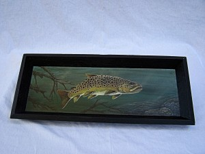 Brown Trout Painting on black tray